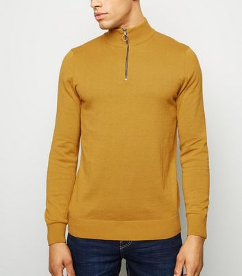 Mustard 1/2 Zip Funnel Neck Jumper