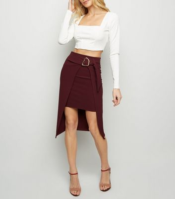 Burgundy Ribbed Hardware Overlay Midi Skirt