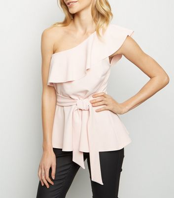 Pale Pink One Shoulder Belted Peplum Top