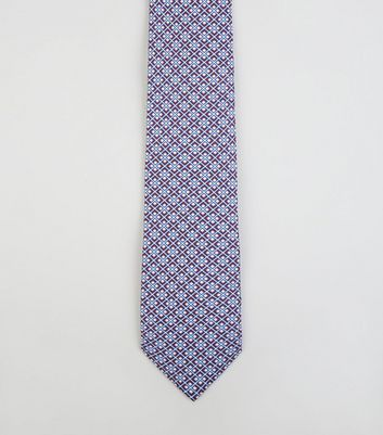 Burgundy and Blue Geometric Skinny Tie