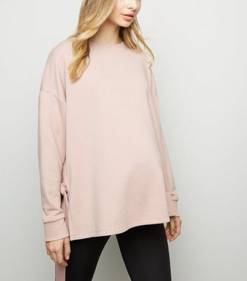 Materinity Pink Tie Side Sports Sweatshirt
