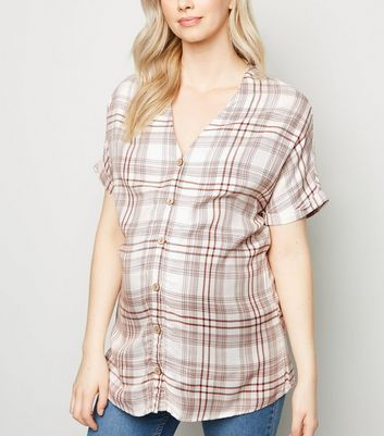 Maternity Brown Check Button Up Shirt
