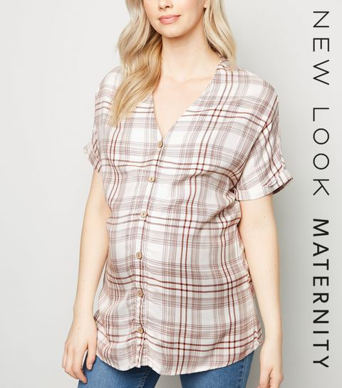 8ee0e63b9e ... Maternity Brown Check Button Front Shirt ...