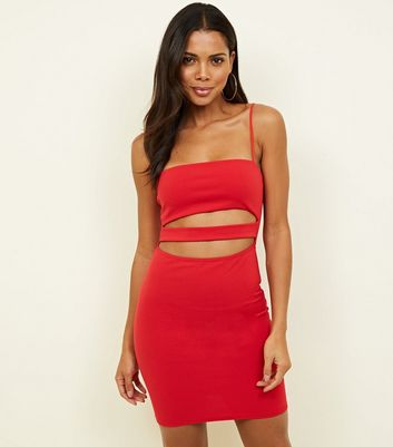 Red Cut-Out Bodycon Slip Dress