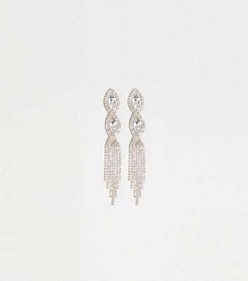 Clear Premium Gem Twist Chandelier Earrings