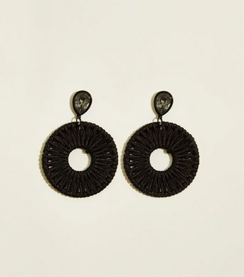 Black Woven Disc Earrings
