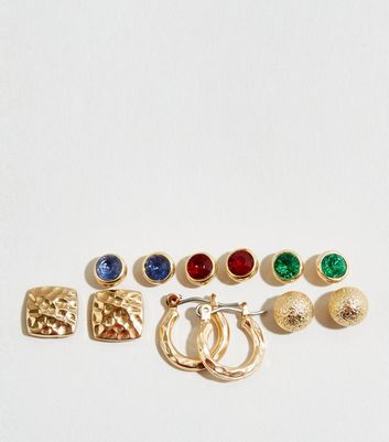 6 Pack Gold Beaten and Gem Earrings