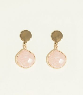 Pale Pink Abstract Resin Drop Earrings