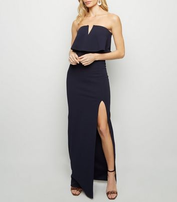 Navy Notch Neck Strapless Maxi Dress