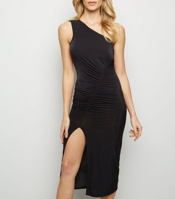 Black Asymmetric Ruched Slinky One Shoulder Dress