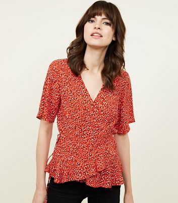Red Animal Print Frill Wrap Top