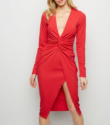 Red Twist Front Ribbed Midi Dress