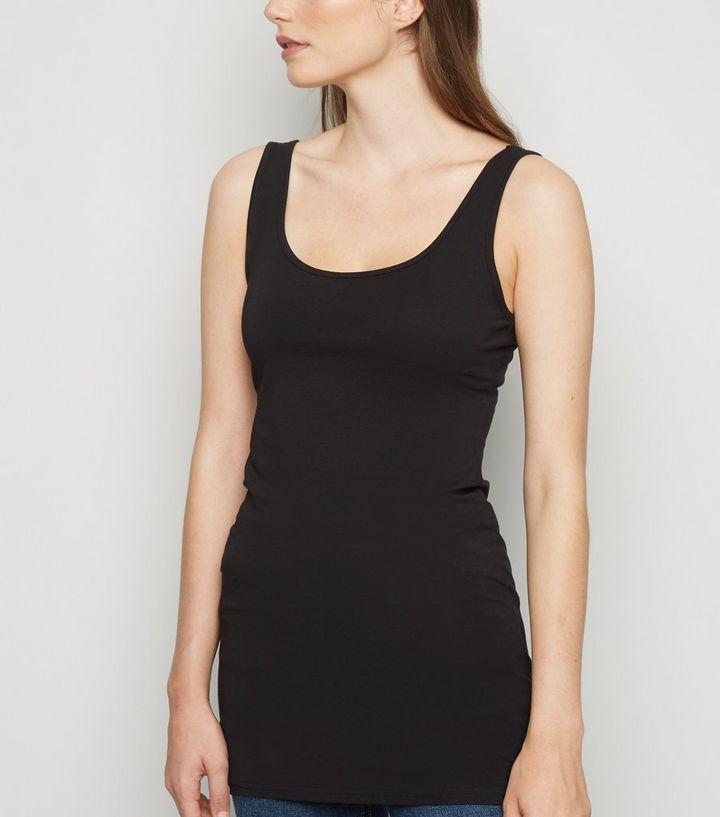 1b46349f22e3aa Black Scoop Neck Longline Vest Top