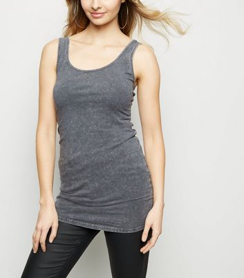 Dark Grey Scoop Neck Longline Vest Top
