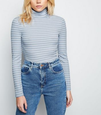 Blue Stripe Ribbed Roll Neck Top