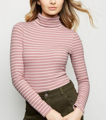 Pink Stripe Ribbed Roll Neck Top