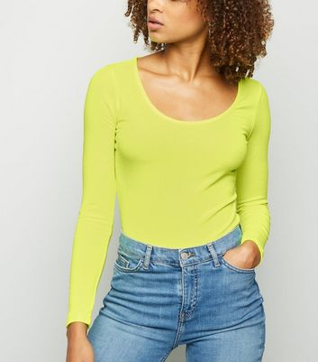 Yellow Neon Long Sleeve Bodysuit