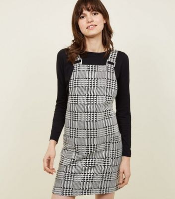 Black Mixed Houndstooth Check Pinafore Dress