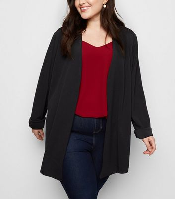 Mela Curves Black Zip Pocket Blazer