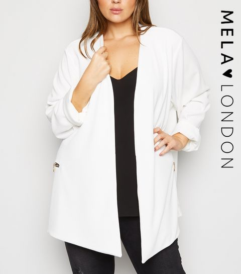 d8a2e1bc44d61 ... Mela Curves White Zip Pocket Blazer ...