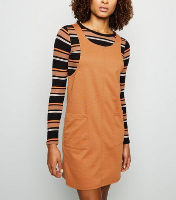 Rust Jersey Double Pocket Pinafore Dress
