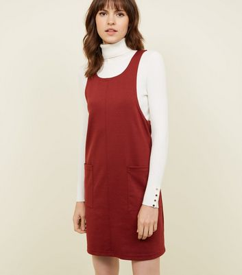Burgundy Jersey Double Pocket Pinafore Dress