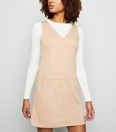9a835df3f841 ... Camel V Neck Jersey Pinafore Dress ...