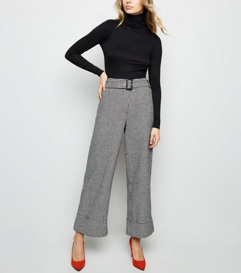 ... Black Houndstooth Belted Turn Up Wide Leg Trousers ...