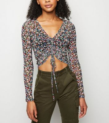 Black Ditsy Floral Ruched Mesh Crop Top