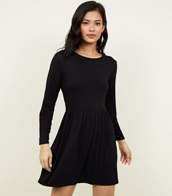Black Long Sleeve Smock Dress