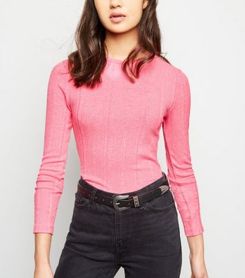 Bright Pink Neon Long Sleeve Top