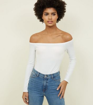 Off White Ribbed Bardot Bodysuit