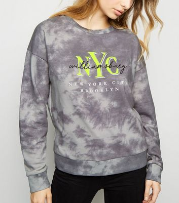 Grey NYC Neon Slogan Tie Dye Sweatshirt