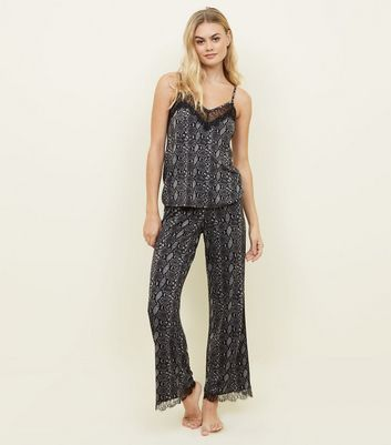 Grey Snake Print Pyjama Trousers