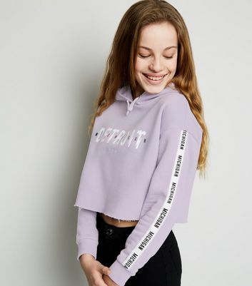 "Girls – Kapuzenpullover mit ""Detroit""-Slogan in Helllila"