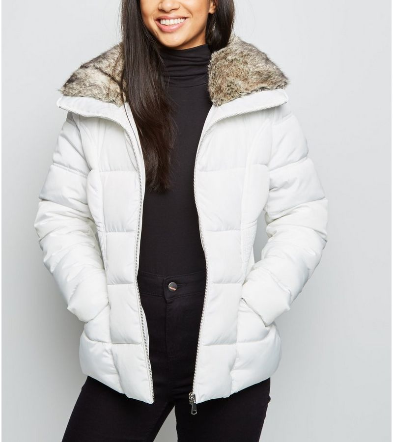 New Look - petite  faux fur trim fitted puffer jacket - 1