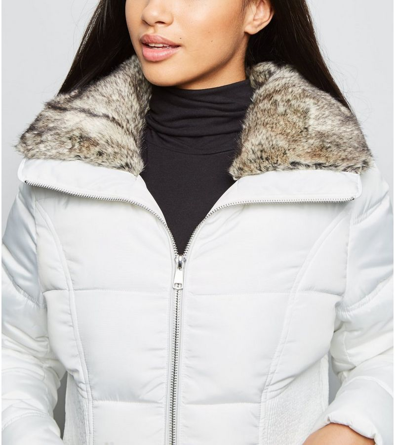 New Look - petite  faux fur trim fitted puffer jacket - 4