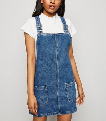 Petite Blue Buckle Denim Pinafore Dress