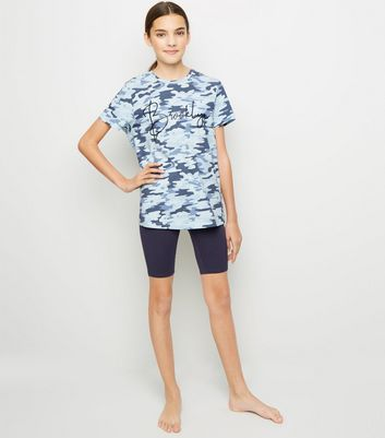 Girls Blue Camo Brooklyn Slogan Pyjama Set