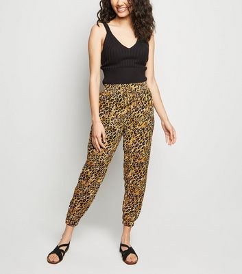 Petite Yellow Leopard Print Joggers