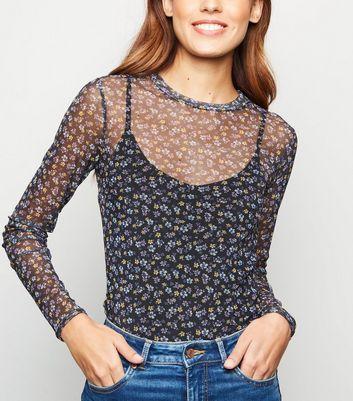 Black Floral Long Sleeve Mesh Top New Look