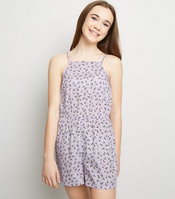 Girls Purple Ditsy Floral High Neck Playsuit
