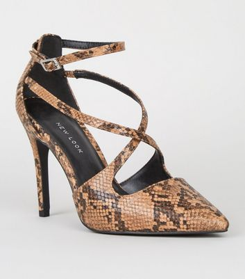 Wide Fit Brown Faux Snake Cross Strap Courts