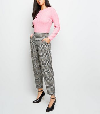 Petite Grey Check Jersey Pull-On Trousers