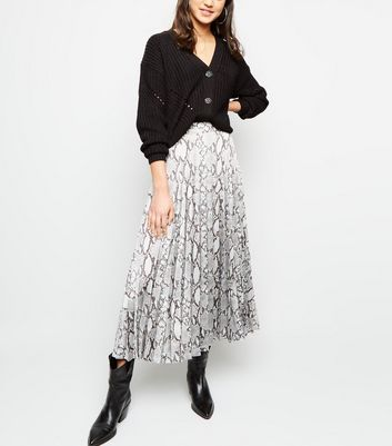 Light Grey Satin Snake Print Pleated Midi Skirt