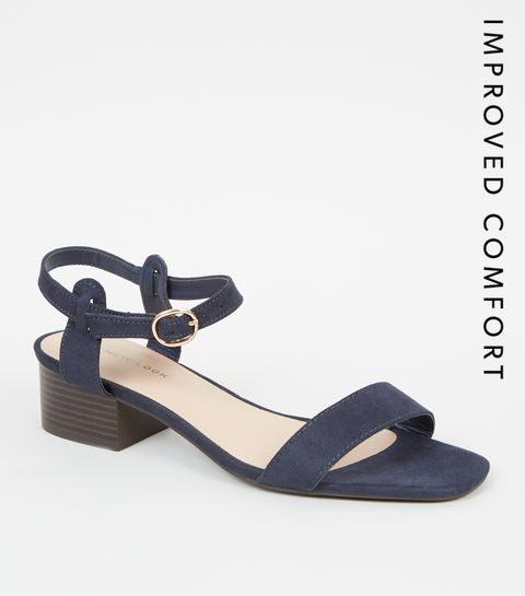a4b2cc130556 ... Navy Suedette Low Block Heel Sandals ...