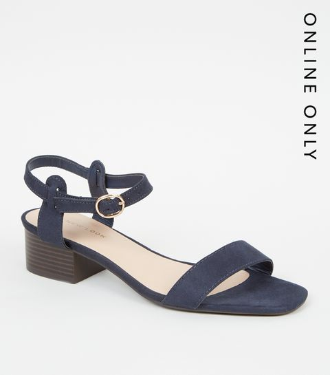 e1890b06538fd4 ... Navy Suedette Low Block Heel Sandals ...