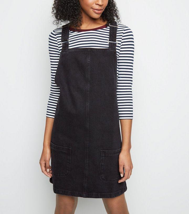 54169ce103 Tall Black Denim Mini Pinafore Dress