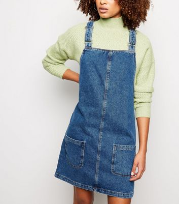 Tall Blue Denim Mini Pinafore Dress