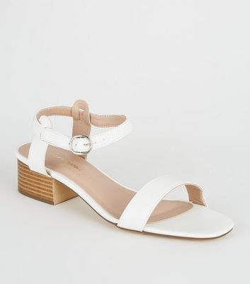 White 2 Part Low Block Heel Sandals
